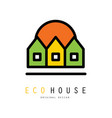 original logo with three eco houses vector image vector image