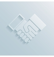 Paper handshake icon vector image