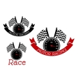 Racing sport symbols with speedometers and flags vector image vector image