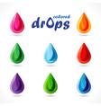 set bright coloured drops vector image