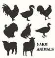 set farm animals silhouettes for design vector image