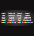 set of game text lettering in cartoon flat style vector image