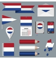 Set of icons with flag elements Netherlands vector image