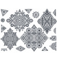 set of seven tribal art boho hand drawn geometric vector image