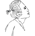 Sketch of an asian in profile in 2 layers vector image vector image