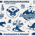 ski and snowboard club seamless pattern vector image vector image
