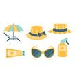 skin protection set beach sun safety hat panama vector image vector image