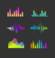 sound waves equalizer set vector image vector image