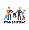 stop bullying concept sad helpless kid negative vector image vector image