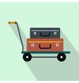 Suitcases on a cart flat icon vector image vector image