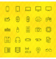 Technology Devices Line Icons Set over Polygonal vector image