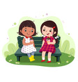 two little girls eating ice cream on the bench vector image