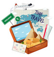 vintage suitcase with travel element vector image