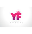 yf y f letter logo with pink purple color and vector image vector image