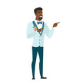 young african-american groom pointing to the side vector image vector image