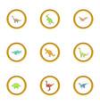 dinosaur icons set cartoon style vector image