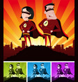super heroes male and female vector image