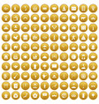 100 dish icons set gold vector image vector image
