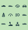 automobile icons set with car speedometer vector image