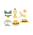 beach accessories set skin protection elements vector image vector image