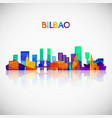 bilbao skyline silhouette in colorful geometric vector image vector image