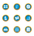 boxing training icons set flat style vector image vector image