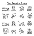 car service maintenance icon set in thin line vector image vector image