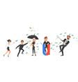 cartoon business men women and money vector image vector image
