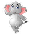 Cute elephant cartoon presenting vector image vector image