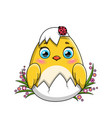 cute little yellow easter chicken hatching from an vector image