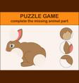 cute rabbit cartoon complete the puzzle vector image vector image