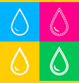 drop of water sign four styles of icon on four vector image