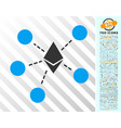 ethereum net structure flat icon with bonus vector image vector image