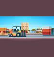forklift loader pallet stacker truck equipment vector image