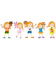 Girls and many puppet dolls vector image vector image