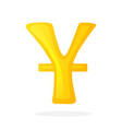 golden sign yuan with one line vector image vector image
