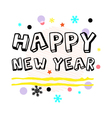 Happy New Year Greeting Black Type vector image