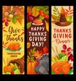 happy thanksgiving banners with harvest vector image vector image