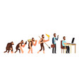 human evolution from monkey to businessman and vector image vector image