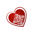 i love you qr code in red heart on white vector image vector image