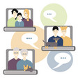Internet communication with family concept three