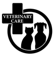 isolated black icon with veterinary care symbol vector image vector image