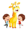 kids with giraffe vector image