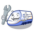 mechanic miniature shinkansen train in cartoon vector image