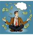 Meditating businessman with speech bubble in retro vector image
