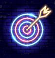 neon signboard arrow target vector image