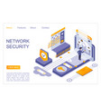 network security landing page isometric vector image vector image