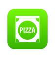 pizza box cover icon digital green vector image vector image