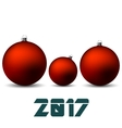 Red christmas balls isolated on white background vector image vector image