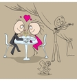 Romantic dinner at the restaurant Couple in love vector image